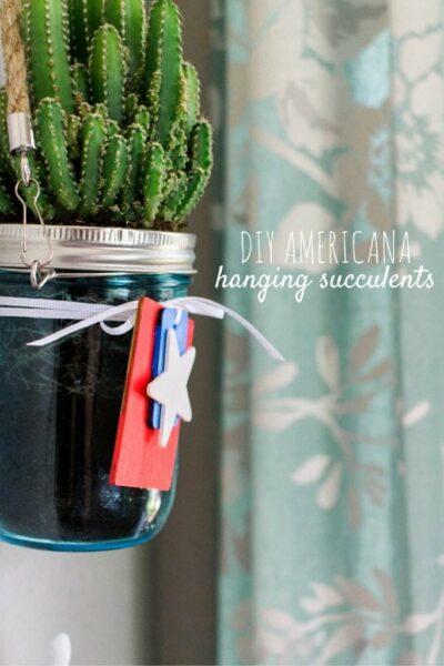 DIY Americana hanging succulents