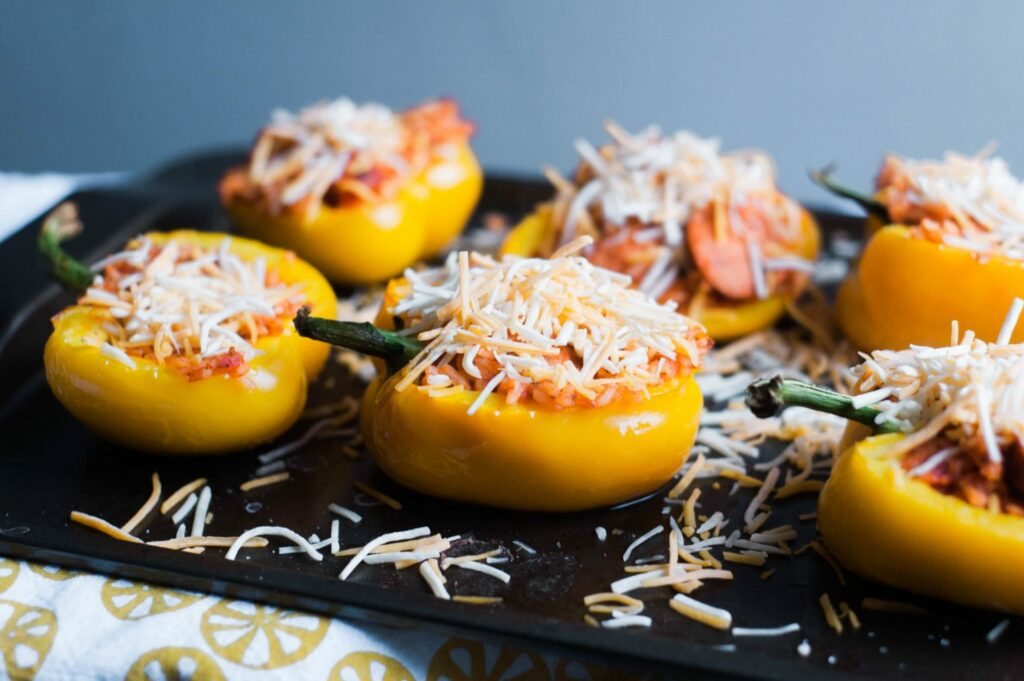 Stuffed Bell Peppers with al fresco chicken sausage!