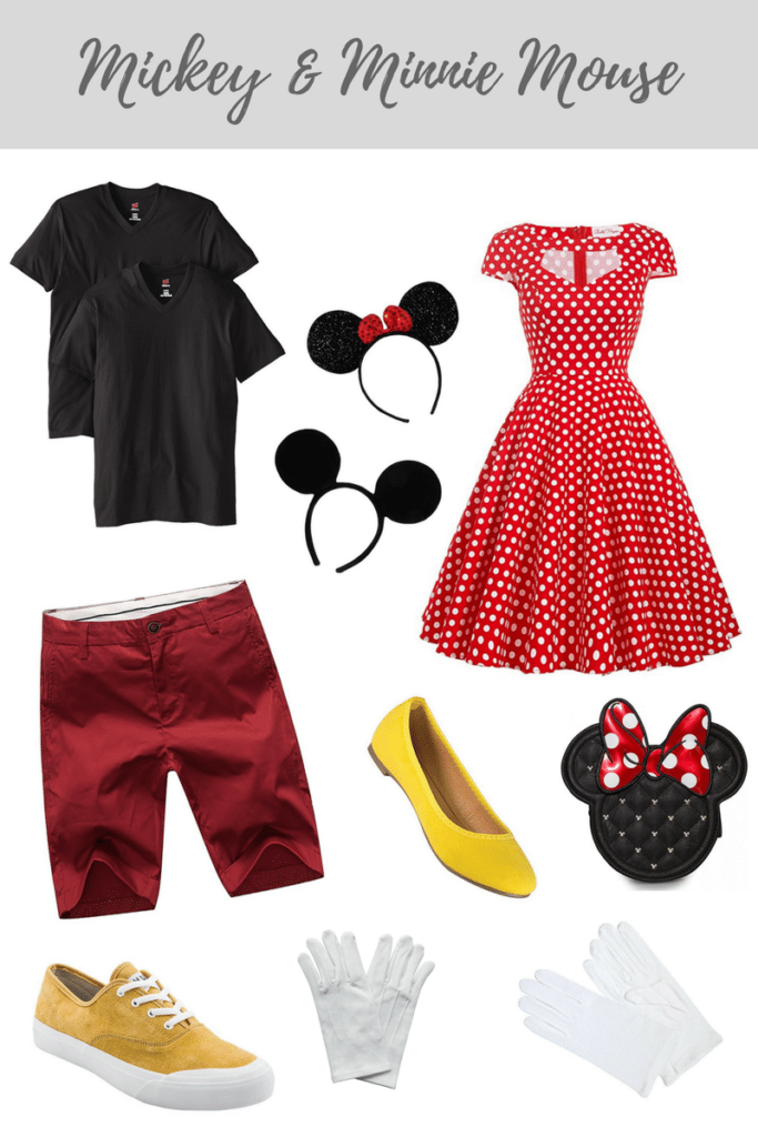 Mickey & Minnie Mouse Halloween Costume for couples. All available on Amazon Prime for last minute planning!