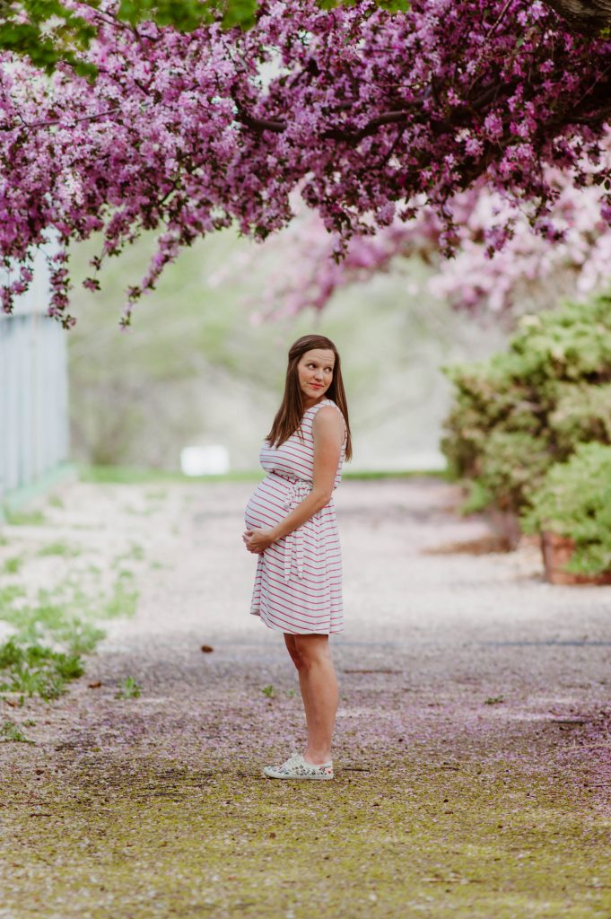 Dancing in Spring Blooms in my Pink Blush Maternity Dress
