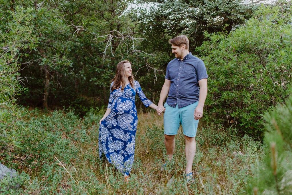 Blue Floral Print Maternity/Nursing Wrap Maxi Dress